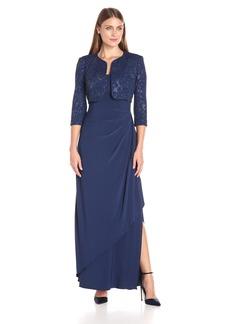Alex Evenings Women's Long Empire Waist Bolero Jacket Dress With Textured Detail