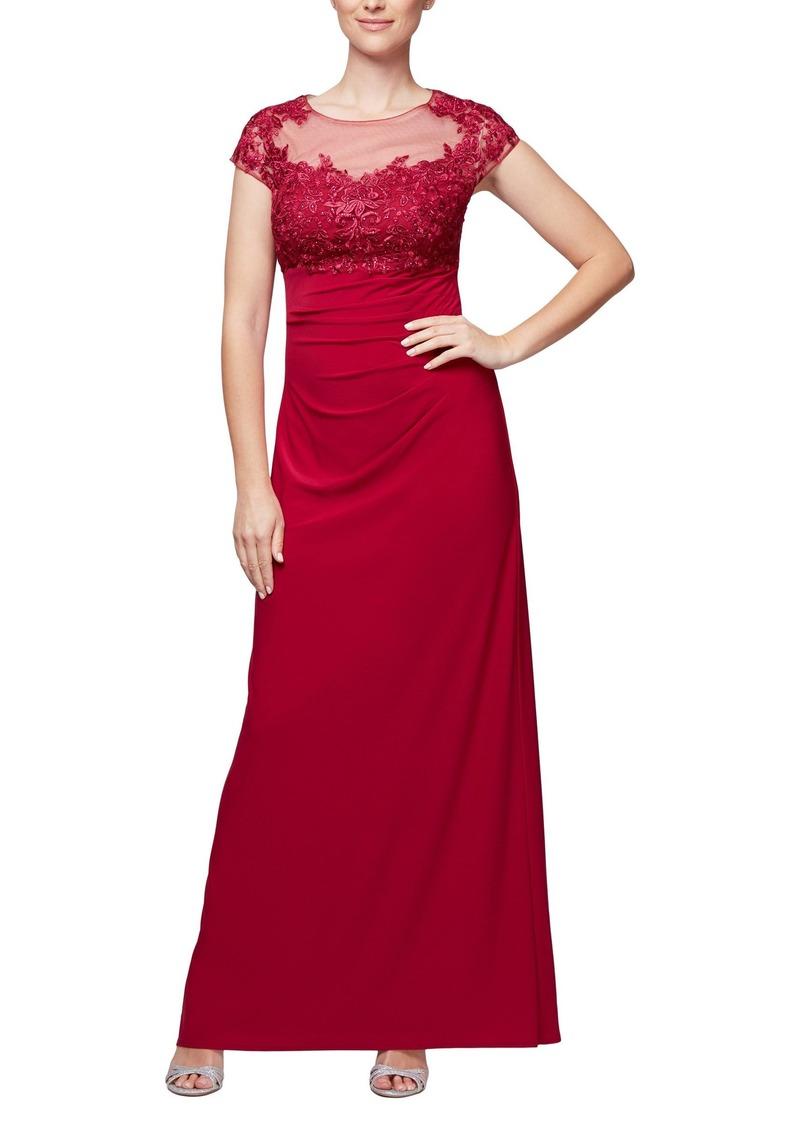Alex Evenings Women's Long Empire Waist Cap Sleeve Dress with a-Line Skirt