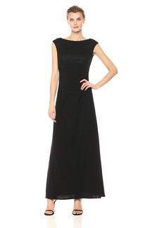 Alex Evenings Women's Long Empire Waist Dress With Cowl Back Detail