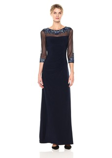 Alex Evenings Women's Long Empire Waist Dress with Embroidered Neckline