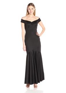Alex Evenings Women's Long Empire Waist Off the Shoulder Dress