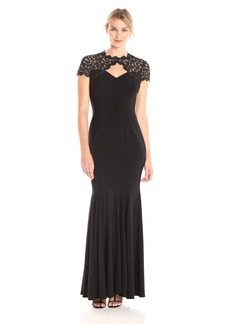 Alex Evenings Women's Long Fit and Flare Dress with Cutout Metallic Lace Neckline