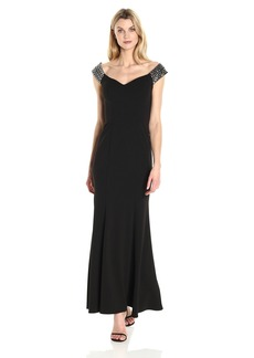 Alex Evenings Women's Long Fit and Flare Off the Shoulder Dress