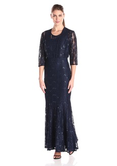 Alex Evenings Women's Long Gown With Lace-Paneled Skirt and Bolero Jacket Dress