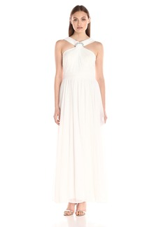 Alex Evenings Women's Long Halter Neck Dress with Ruched Wedding