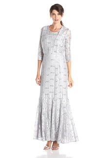 Alex Evenings Women's Long Jacket Dress with Paneled Skirt and Bolero Jacket