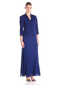 Alex Evenings Women's Long Jacket Gown With Chiffon Skirt Dress (Petite and Regular Sizes)