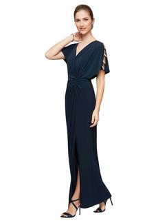 Alex Evenings Women's Long Knot Front Dress Short Sleeve