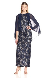 Alex Evenings Women's Long Lace Column Dress With Capelet Overlay