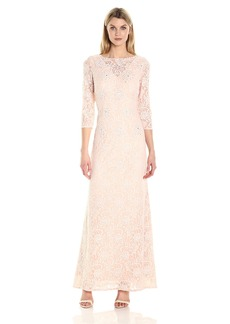 Alex Evenings Women's Long Lace Dress with Illusion Necklilne and Sleeves