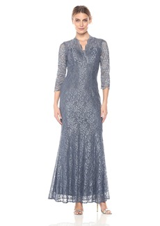 Alex Evenings Women's Long Lace Fit and Flare Dress With Illusion Sleeves