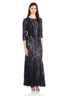 Alex Evenings Women's Long Lace Jacket Dress