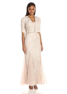 Alex Evenings Women's Long Lace Jacket Dress With Embellished Waist (Petite and Regular Sizes)