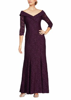 Alex Evenings Women's Long Lace Off The Shoulder Fit and Flare Dress