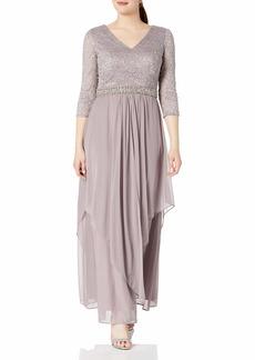 Alex Evenings Women's Long Lace Top Empire Waist Dress