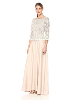 Alex Evenings Women's Long Mock Dress With Full Circle Satin Skirt (Petite and Regular Sizes)