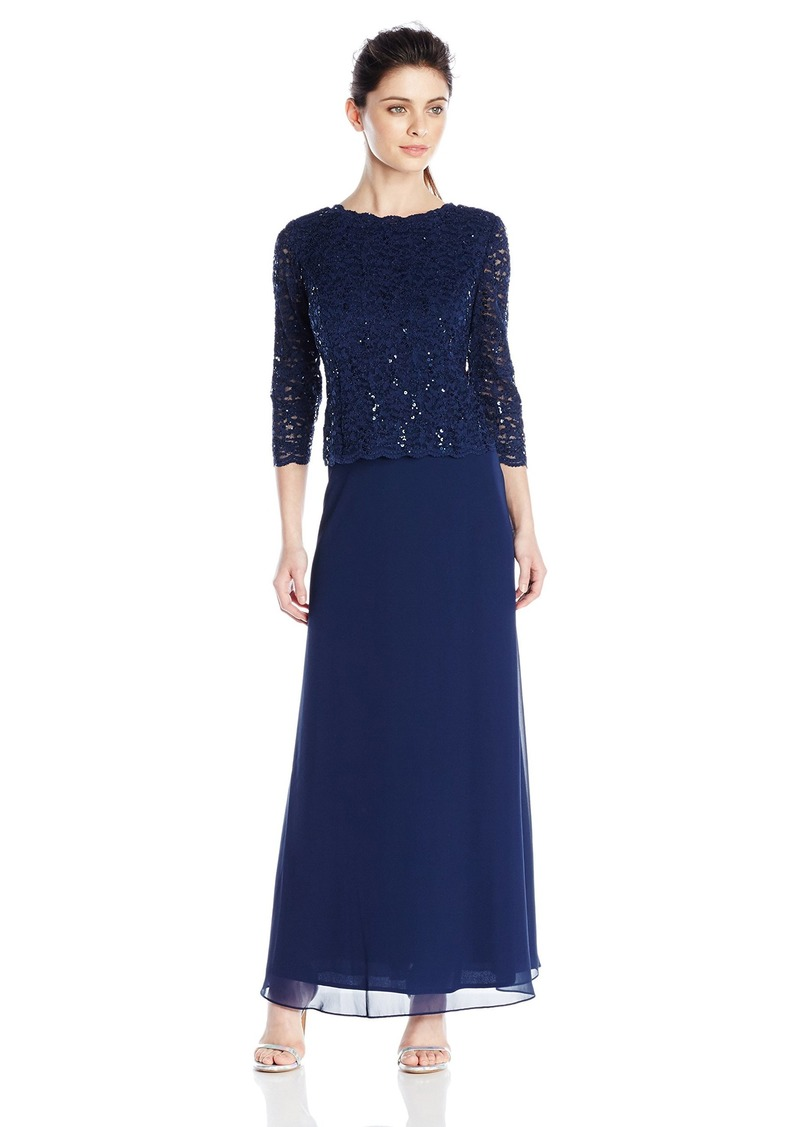 Alex Evenings Women's Long Mock Dress with Full Skirt (Petite and Regular Sizes)  14P