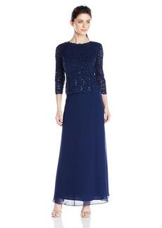 Alex Evenings Women's Long Mock Dress with Full Skirt (Regular Sizes)