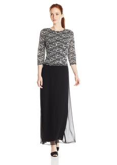 Alex Evenings Women's Long Mock Dress with Sequin Detail Bodice