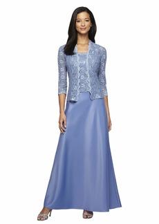 Alex Evenings Women's Long Mock Jacket Dress with Satin Skirt