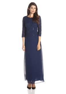 Alex Evenings Women's Long Mock Sequin Lace Bodice and Illusion Dress