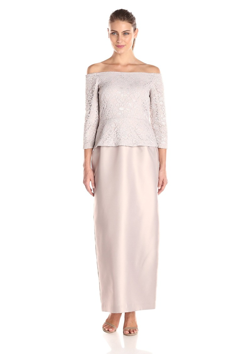 Alex Evenings Women's Long Off-Shoulder Dress with Column Skirt