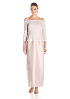 Alex Evenings Women's Long Off-Shoulder Dress with Column Skirt