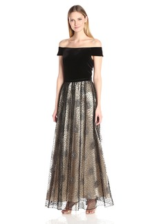 Alex Evenings Women's Long Off the Shoulder A-Line Dress with Full Skirt and Tie Belt