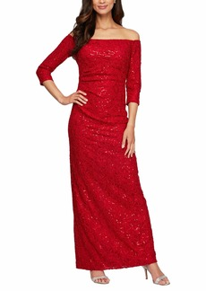 Alex Evenings Women's Long Off The Shoulder Dress with 3/4 Sleeves  8P