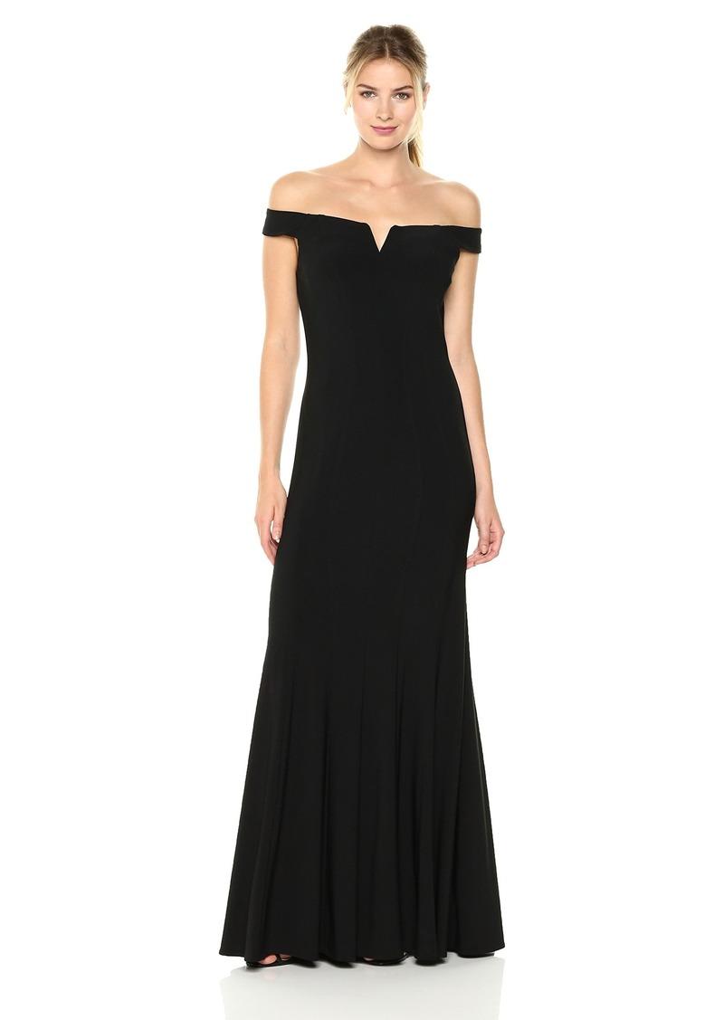 Alex Evenings Women's Long Off The Shoulder Dress with Cutout Neckline
