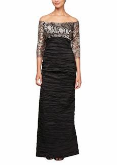 Alex Evenings Women's Long Off The Shoulder Empire Waist Dress