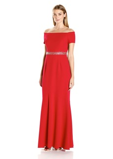 Alex Evenings Women's Long Off the Shoulder Fit and Flare Dress with Beaded Waist