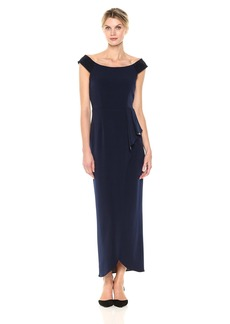Alex Evenings Women's Long Off The Shoulder Gown With Cascade Skirt Dress