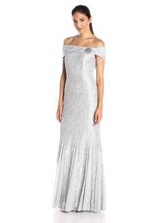 Alex Evenings Women's Long Off the Shoulder Lace Dress With Brooch