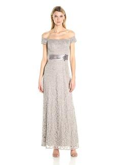 Alex Evenings Women's Long Off The Shoulder Lace Evening Gown Dress