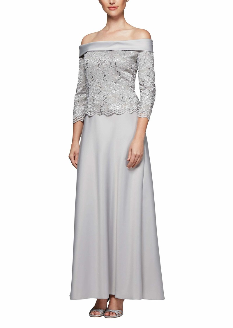 Alex Evenings Women's Long Off The Shoulder Mock Dress with a-Line Skirt