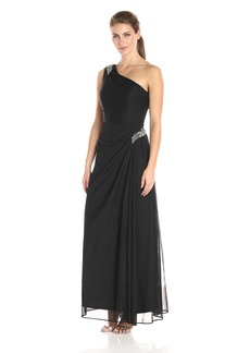 Alex Evenings Women's Long One Dress with Beaded Detail at Hip and Shoulder