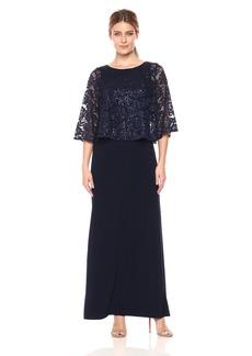 Alex Evenings Women's Long Popover Capelet Dress