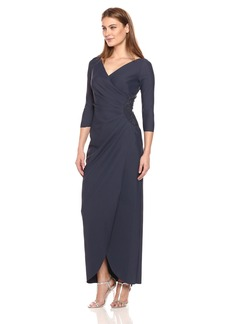 Alex Evenings Women's Long Side Ruched Dress with Embellishment At Hip