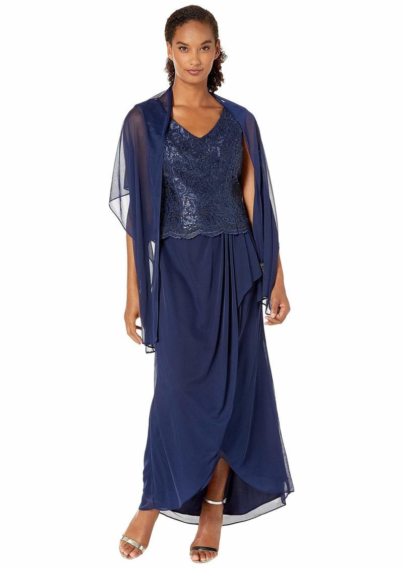 Alex Evenings Women's Long Sleeveless A-Line Dress (Petite and Regular)