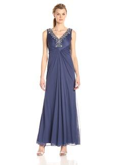 Alex Evenings Women's Long Sleeveless a-Line Dress with Beaded Neckline