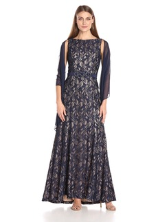 Alex Evenings Women's Long Sleeveless Dress With Beaded Detail Faux Belt and Shawl