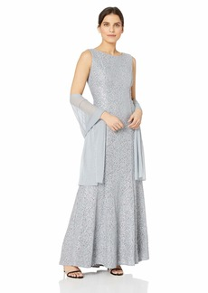 Alex Evenings Women's Long Sleeveless Dress with Beaded Detail Faux Belt and Shawl  8P