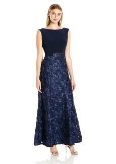 Alex Evenings Women's Long Sleeveless Dress With Rosette Skirt