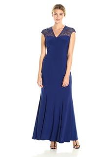 Alex Evenings Women's Long Sleeveless Empire Waist Dress with Beaded Neckline