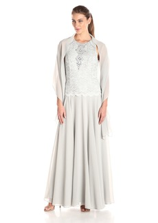 Alex Evenings Women's Long Sleeveless Lace Gown with Shawl