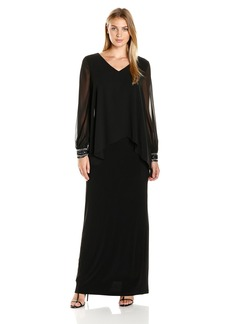 Alex Evenings Women's Long V-Neck Column Dress with Beaded Detail Illusion Sleeves