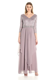 Alex Evenings Women's Long V-Neck Lace Dress With Overlay Skirt