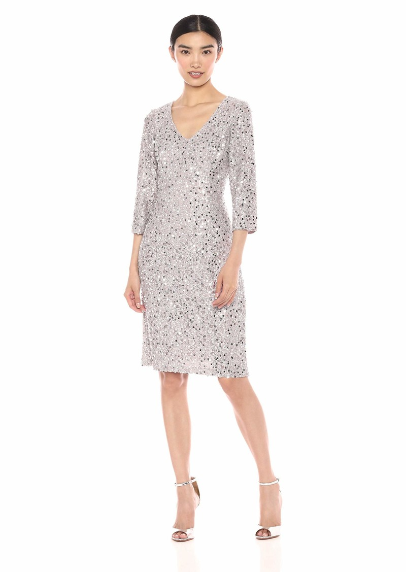 Alex Evenings Women's Midi Length V-Neck Shift Dress with Sleeves