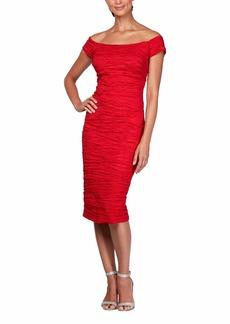 Alex Evenings Women's Midi Off-The-Shoulder Stretch Taffeta Sheath Dress red